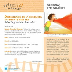 DESREGULACIÓ DE LA CONDUCTA EN INFANTS AMB TEA - Xerrada de Carrilet @ Biblioteca Can Mariner d'Horta
